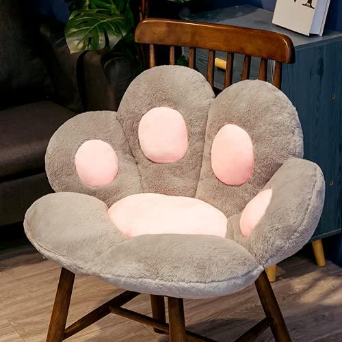 YIWOYI Cojín para asiento de animales de 70 cm, almohada Kawaii con diseño de pata de gato, calentador de manos de felpa, sofá interior o decoración de silla (70 x 60 cm), color gris
