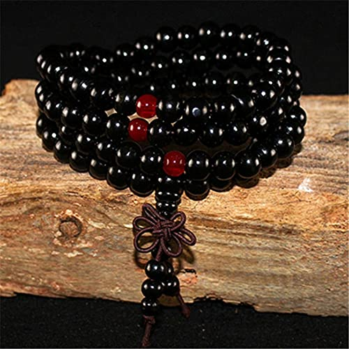 sdfpj 108 Beads Yoga Pulsera for Mujeres Hombres Sandalia Natural Buddhist Buddha Buda Oración con Cuentas Lotus OM Collares de Pulseras de Rosario (Metal Color : Light Yellow Color)