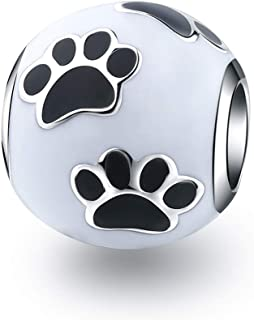XQY Dog Paw Print Charms 925 Silver Pet Lovers Charm Fit Pandora Style Beaded Bracelets