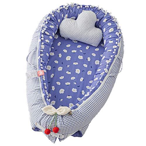 Cuna de bebé recién nacido para cama de dibujos animados recién nacidos tumbona de algodón portátil cama de viaje cama de viaje bebé Lounge parachoques con cojín cama de viaje
