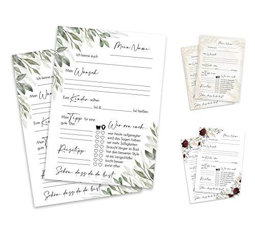 Gästekarten für Hochzeit – Hochzeitsgästekarten – kreative Fragen zum ausfüllen –...