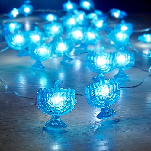 Holitown Chanukah Decorative String Lights, 10ft 40 LED Hanukkah Twinkle Light Battery Operated with Remote for Jews, Judaism Wedding, Synagogue, Bedroom Parties Candelabra Decorations
