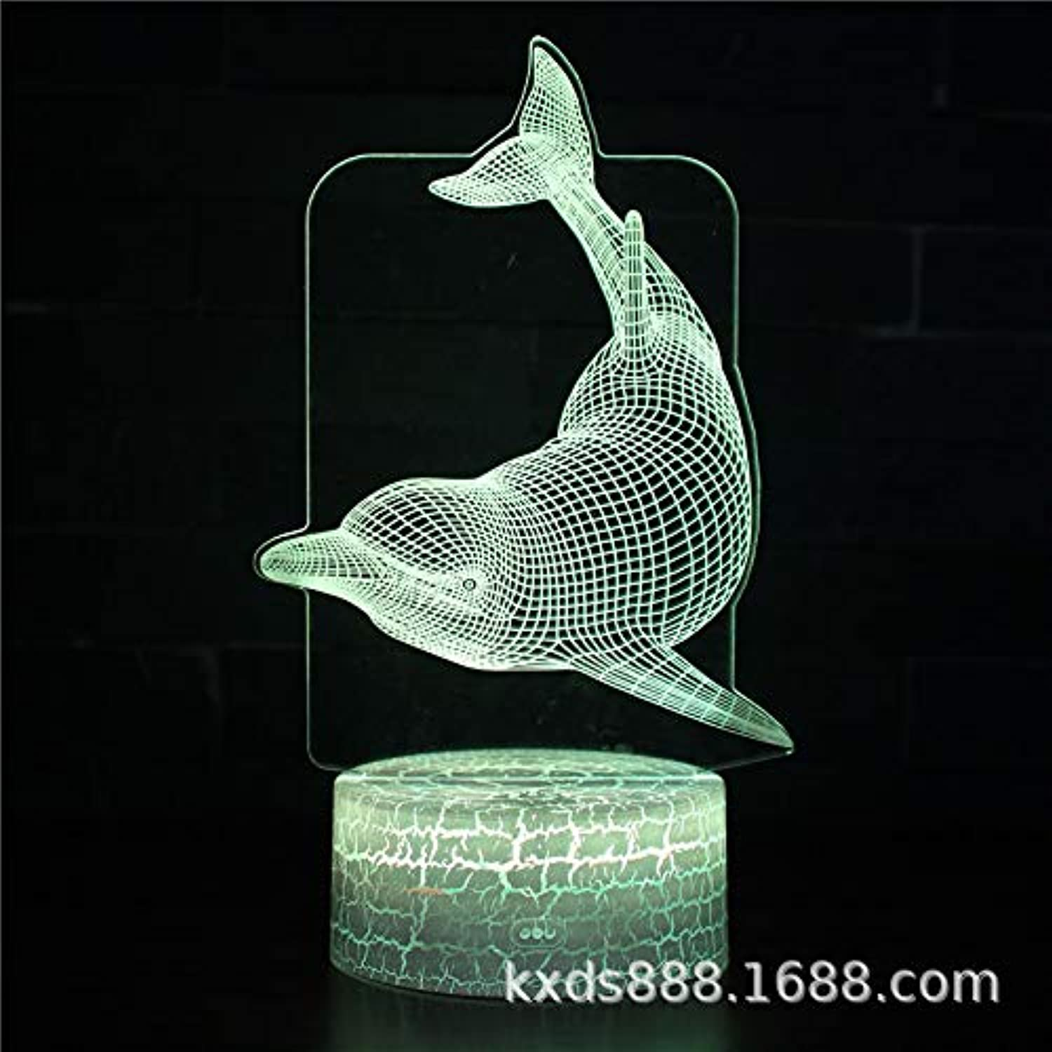 DZXGY Inns hot Dolphin 7 color Illusion led Touch Night Light 3D Touch Screen Control led Gradient Night Light x-mas Gift Bedroom Decoration,H