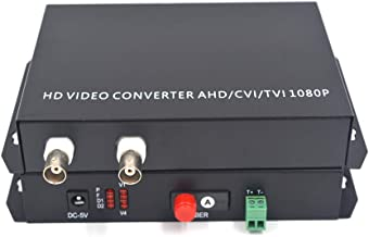 Guantai 2 Channels Coaxial HD Video Over Fiber Optic Media Converters - for 1080p 960p 720p CVI TVI AHD HD Camera (with RS485 Data)