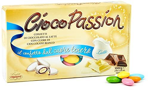 Crispo Confetti Cioco Passion Cioccolato al Latte con Cuore di Cioccolato Bianco, Colori Assortiti - 1 kg