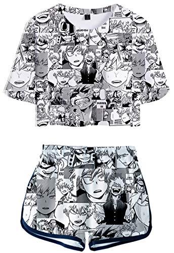 HAOSHENG Mujer Traje Deportivo My Hero Academia T-Shirt Comics Anime Camiseta y Pantalones Cortos Verano 2 Piezas Set(M)