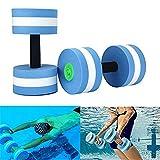 Mancuernas de espuma para ejercicio aeróbico de agua, equipo para ejercicios de fitness acuáticos, pérdida de peso, color azul, 2 unidades