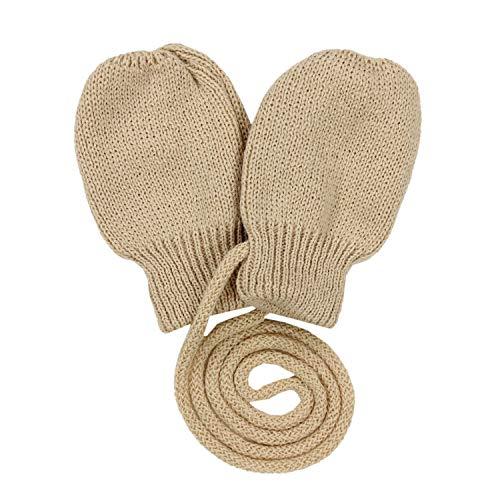 TupTam Baby Unisex Fäustlinge Winter Handschuhe Gestrickt, Farbe: Beige, Größe: 0-12 Monate