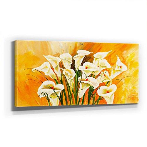 Callas - LEINWAND - 110x50cm Bild Calla Blumen - Kunst - XXL 110x50cm, Leinwand auf Holzrahmen aufgespannt, UV-stabil und wasserfest, XXL Deko Bild abstrakt FineArtPrint Wandbild
