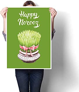 Canvas Prints Artwork Abstract Hand Drawn Greeting Card Template Persian New Year Holiday for Living Room Bedroom Hallway Office L24 xK16