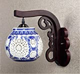 QFF Lámpara de pared clásica de estilo chino Lámpara de cabecera creativa de pasillo Lámpara de cerámica de madera sólida azul y blanca
