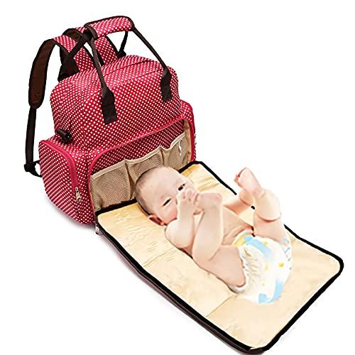 LUKKC Mochila De Bolsa De Pañales Bebé con Estera Cambiante, Bolsas De Pañales para Bebés Hombres Papá Mamá De Viaje A Prueba De Agua A Prueba De Agua 15 Bolsillos,Rosado