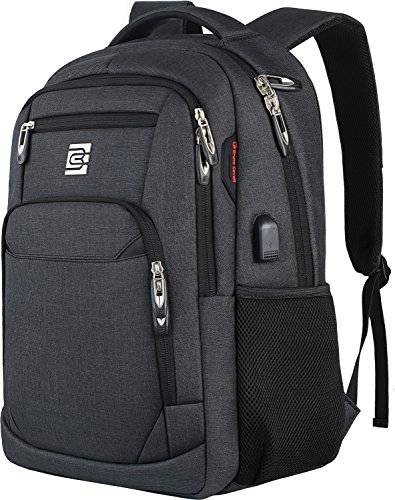 17 Inch Laptop Backpack, Business Anti Theft Slim Durable Laptops Backpack with USB Charging Port, Water Resistant College School Computer Bag Gifts for Men & Women Fits 15.6 Inch Notebook-Black