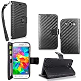 Galaxy Grand Prime Case - Cellularvilla Pu Leather Wallet Flip Open Pocket ID Card Holder Slots Case Cover Stand with Wrist Strap for Samsung Galaxy Grand Prime SM-G530H G5308W (Carbon Fiber Black)