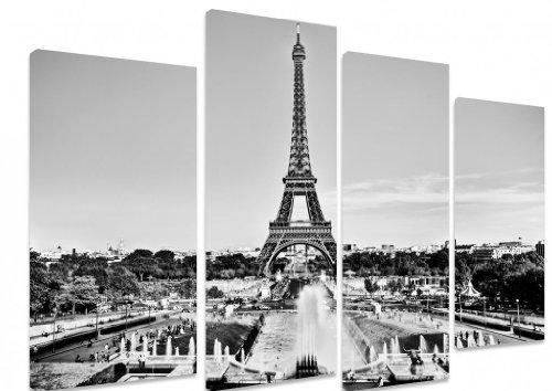 Art Depot Outlet Leinwandbild, mehrteilig, Blick auf Eiffelturm von Brunnen in Jardins Du Trocadero, 101x71cm, Schwarz / Weiß, 4-teilig