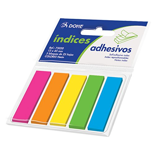 Dohe- Tacos de índices Adhesivos, 12 x 45 mm, 5 Blocks x 25 Notas (75020)