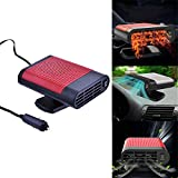 Portable Car Heater 12V/150W Fast Heating Defrost Defogger Demister Heat Cooling Fan Auto Dryer Windshield Defroster Plug in Cigarette Lighter 360 Degree Rotary Base(Red)