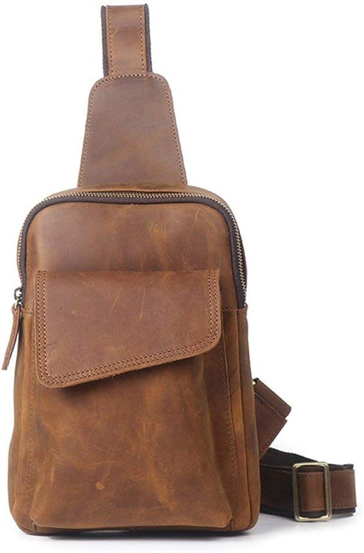Fishroll Leichter Rucksack Unbalance Leichte Daypack Retro Casual Mnner Brusttasche Reiverschluss Leder Umhngetasche Umhngetasche Für Erwachsene Reise Outdoor Sport Gym
