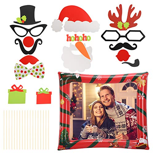 BIGKASI 17Pcs Christmas Inflatable Photo Frame Selfie Frame Selfie Props Xmas Photo Booth Props Kit Inflatable Pictiure Frame Blow Up Xmas Party Celebration Santa Claus Sisal Tree Elk Snowflake