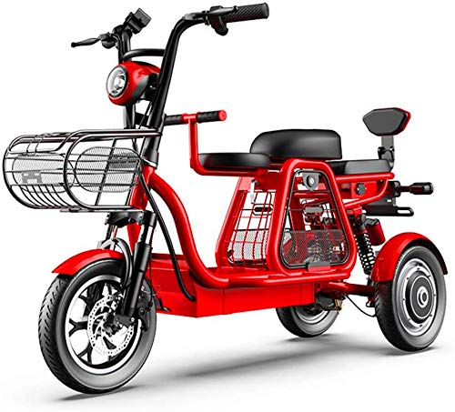 min min Bike,Electric tricycle, parent-child trip three-seater, 48V500W super power, GPS positioning/independent suspension/large storage box, family scooter (Size : 20AH) (Size : 15AH)
