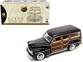 1948 Ford Woody, Black w/ Wood Panel - Lucky 20028 - 1/18 Scale Diecast Model Toy Car