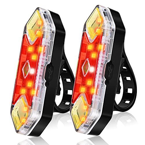 CHYBFU Luce Posteriore Bici Ricaricabile USB (Set 2 Pezzi), 8 modalità di Illuminazione, Potente Luce Posteriore per Bici a LED, Impermeabili IPX5, La Massima Sicurezza in Bicicletta