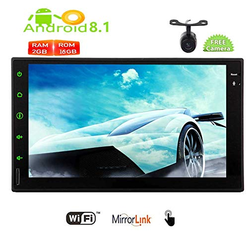 Best Gift for Christmas! Pure Android 8.1 Oreo System Car Stereo 7 inch Capacitive Touch Screen Automitive GPS Navigation Autoradio Video Bluetooth Handsfree 1080P WiFi Mirrorlink with Rear Camera