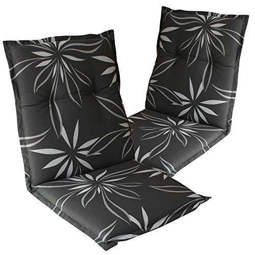 Dulma – Cojín con respaldo para silla de jardi 'Naxos' 98 x 49 x 6 cm – Núcleo de espuma – Cintas de fijación – EU – ÖkoTex100, Blume Grau-weiß 2135, Set x2