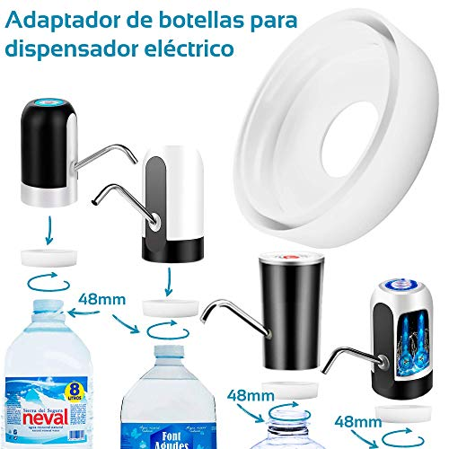 MovilCom® - Adaptador de Botella para dispensador de Agua Eléctrico Compatible con Botellas 5, 6, 8, 10, 12 litros | para Botellas o adaptadores con diámetro 48mm (48mm)