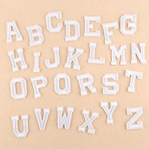 XUNHUI Weiß 26 Englischen Buchstaben A-Z Bestickt Motiv Applique Eisen auf Patch nähen Kleidung DIY Aufnäher für Kleidung Applikationen