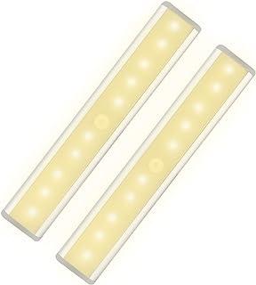 10 LED Warm White Closet Lights Motion Sensor Light, Under Cabinet Lights, USB Rechargeable Stick-on Stairs Step Light Ba...