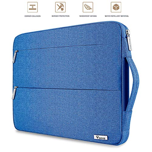 Voova 14-15.6 Inch Laptop Sleeve Case Slim Computer Carry Bag Compatible with MacBook Pro 15.4 16, 15 Surface Book 2/Laptop 3, Asus Acer Chromebook, Waterproof Protective Cover with Pocket, Light Blue