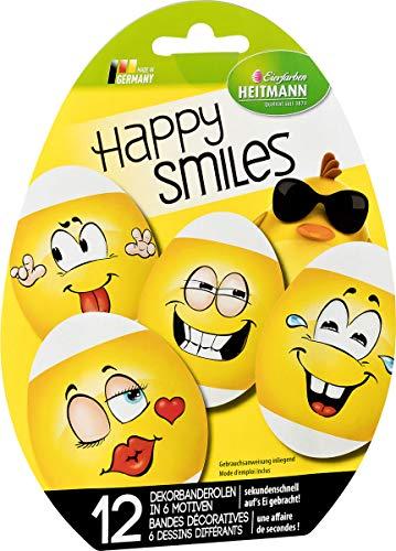Heitmann Eierfarben - Happy Smiles - Dekorbandarolen - braune und weiße Eier - kreative Ostereier - Cooles Osternest