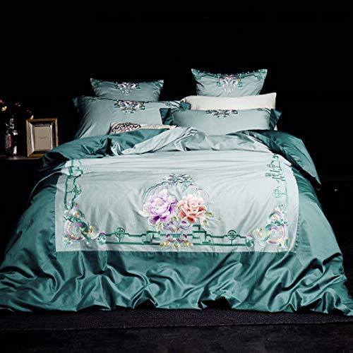 Teyun. Langstapelige Baumwolle aus Reiner Baumwolle Satin Bestickt Home Textile Produkte (Color : Green, Size : 150-180CM)