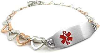 Pre-Engraved /& Customized Diabetes Type I Alert Bracelet Purple My Identity Doctor Red Millefiori Glass
