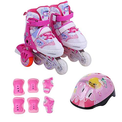 ZCRFY Rollschuhe Einstellbar Inline Skates Kinder Anfänger Abnehmbar 5-Rad Einreihig Zweireihig 2 In 1 Blinkende Rollschuhe Für Kinder Von 3-12 Jahren,Pink-S(27-31)-Set1
