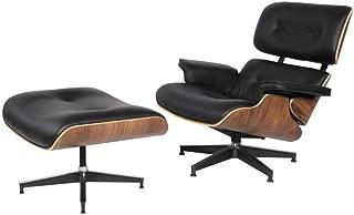 eMod - Mid Century Plywood Eames Lounge Chair & Ottoman Aniline Leather (Black Walnut)