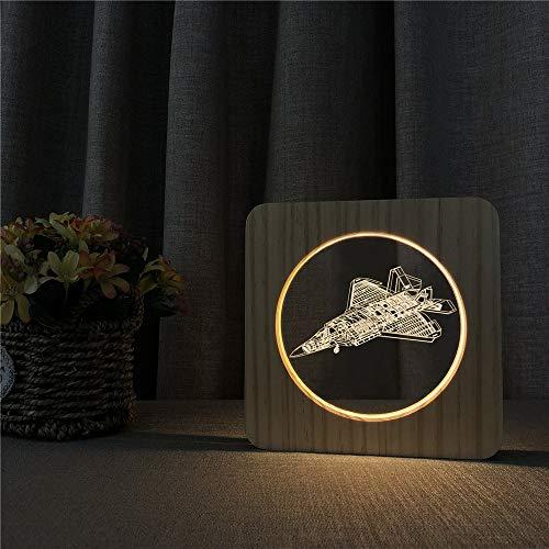 Luchador militar creativo 3D lámpara LED de madera lámpara de escritorio interruptor de control luz dormitorio luz decorativa