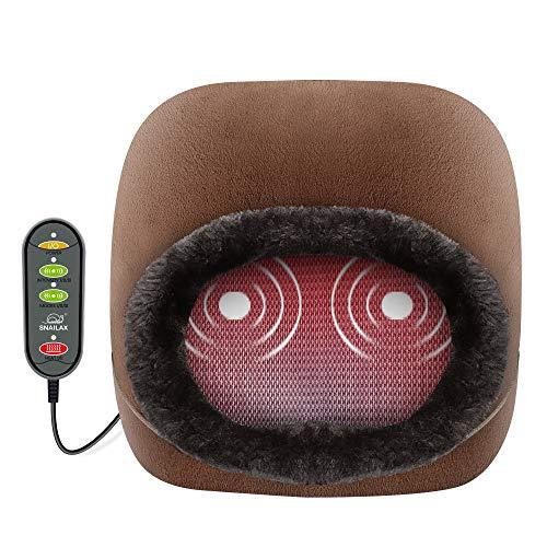 Snailax 3 en 1 calentador de pies y masajeador de espalda y masajeador de pies con calor, calentador de pies con masaje de vibración y 2 ajustes de calor, calentadores de pies masajeador para pies, piernas, alivio de espalda..