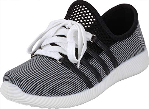 Cambridge Select Women's Lightweight Breathable Mesh Lace-Up Fashion Sneaker (10 B(M) US, Black/White)