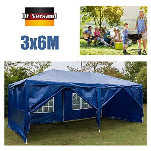 Huini 3x6m Pavillon (mit 6 Seitenwände) für Gartenparty Hochzeit BBQ Event Wasserdicht UV-Schutz Zelt Festzelt Markise Einfache Installation Blau