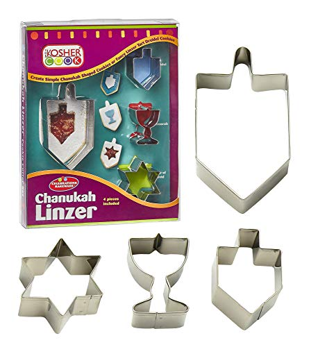 The Kosher Cook Chanukah Cookie Cutter Menorah, Dreidels and Traditional Star Shaped Metal Cutters, Set 4 Pieces