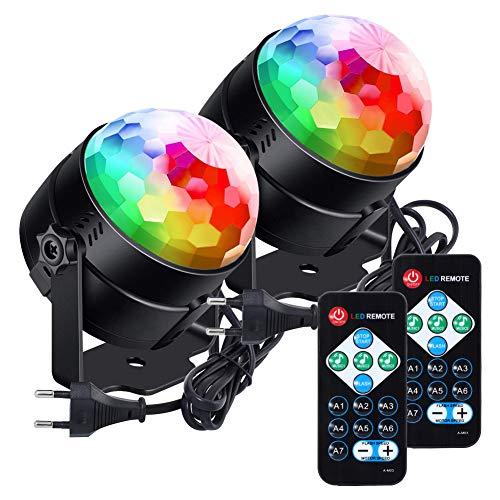 Lunsy Juego de 2 bolas de discoteca LED RGB con mando a distancia, para Navidad, niños, guardería ...