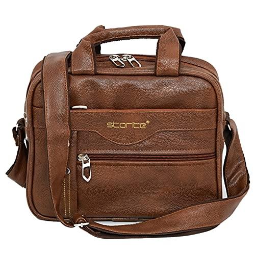 Storite Stylish PU Leather Sling Cross Body Travel Office Business Messenger One Side Shoulder Bag for Men Women (25 cm x 11 cm x 20 cm, Coffee Brown)