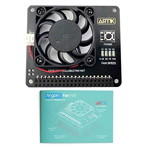 Argon Fan HAT für Raspberry Pi 4, Raspberry Pi 3B und Raspberry Pi 3 B+ - inkl. 40 mm Lüfter und Power-Taste, bietet sicheres Abschalten, gezwungenes Abschalten und Neustart