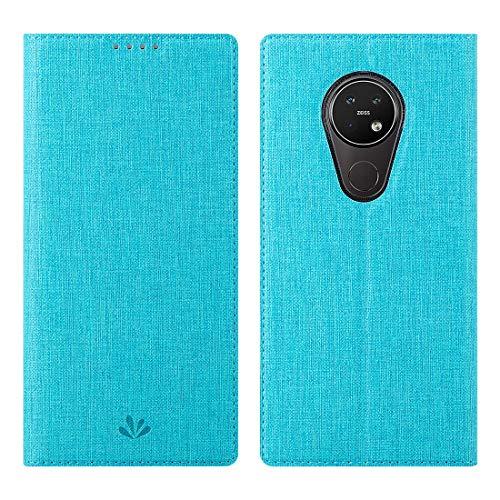 Nokia 7.2/Nokia 6.2 Hülle Hülle,Premium Leder Geldbörse Tasche mit[Kickstand][Kartenhalter][ID Holder][TPU Bumper]Stoßfest Schutzbrieftasche Stoßfest Flip Tasche Handyhülle für Nokia 7.2/Nokia 6.2,Blau