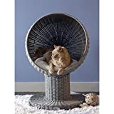 THE REFINED FELINE Kitty Ball Cat Bed, Curved Raised Shape, with Soft Washable Cushion, Scratch Proof Poly Rattan Bed for Cats and Kittens, Smoke (KBB-PY-SK-AMZ)