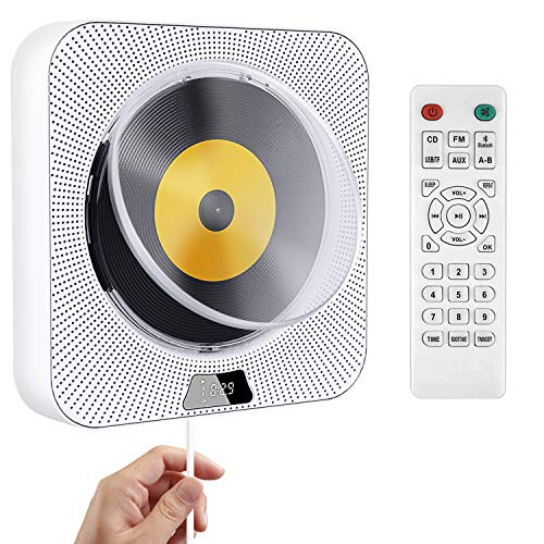 Rcskag Portable CD Player, Wall Mountable Bluetooth Built-in HiFi Speakers, with Dust Cover/LED Screen,Home Audio FM Radio USB MP3 Music Player, 3.5mm Jack,with Pulling-Switch/Remote Control