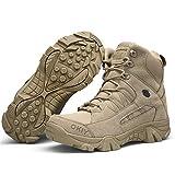 Qiyun Uomo militare high-top scarpe da escursionismo stivali con lacci lavoro,stivali impermeabili,Stivali militari uomo,Scarpe da lavoro uomo 42