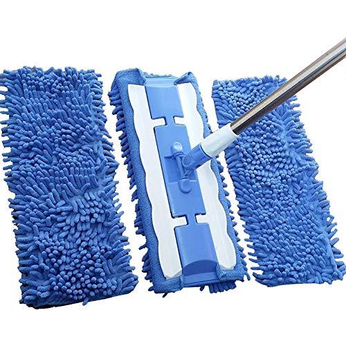 Flat Mop Clip Handdoek Mop Effen Houten Vloer Wasmachine Telescopische Stang Schoonmaken Dweilmachine Thuis (Blauw)